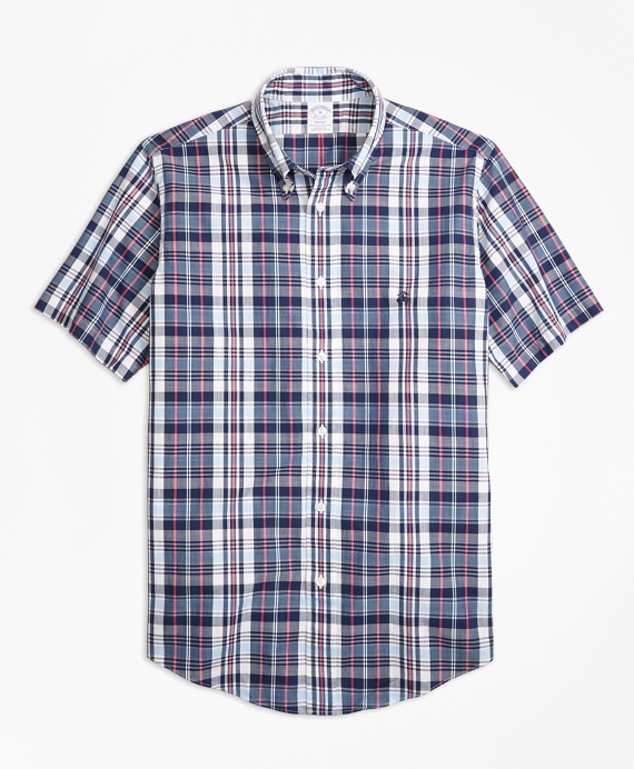Regent Fit Slub Cotton Plaid Short-Sleeve Sport Shirt Blue