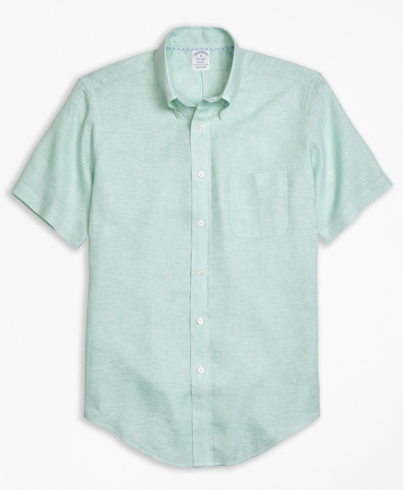 Regent Fit Irish Linen Short-Sleeve Sport Shirt Green