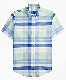 Non-Iron Regent Fit BrooksCool® Bold Plaid Short-Sleeve Sport Shirt