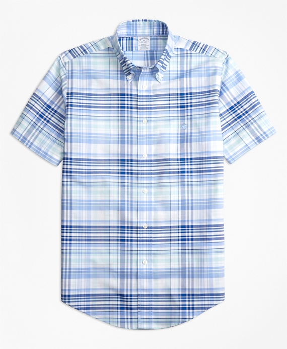 Non-Iron Regent Fit BrooksCool® Plaid Short-Sleeve Sport Shirt