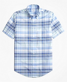 Non-Iron Regent Fit BrooksCool® Plaid Short-Sleeve Sport Shirt