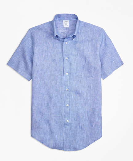 Regent Fit End-on-End Irish Linen Short-Sleeve Sport Shirt