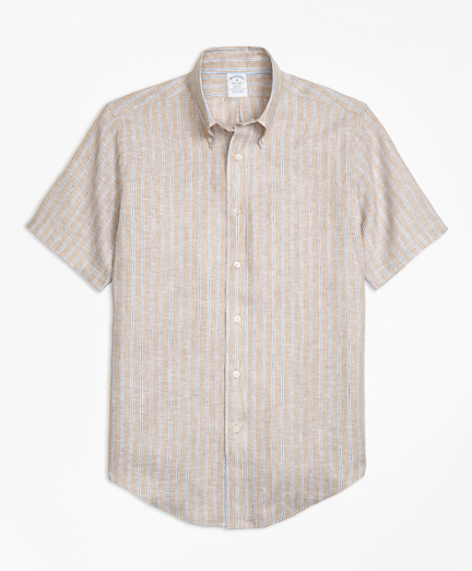Regent Fit Safari Stripe Irish Linen Short-Sleeve Sport Shirt