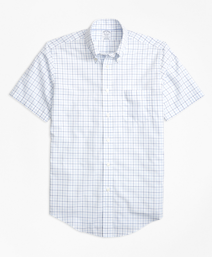 Non-Iron BrooksCool® Regent Fit Tonal Windowpane Short-Sleeve Sport Shirt
