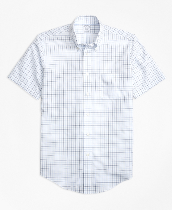 Non-Iron BrooksCool® Regent Fit Tonal Windowpane Short-Sleeve Sport Shirt Blue