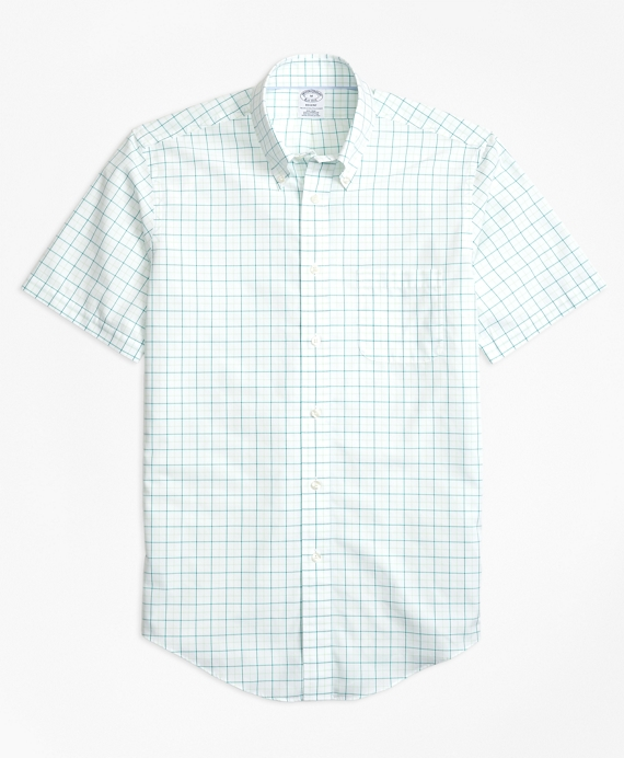 Non-Iron BrooksCool® Regent Fit Tonal Windowpane Short-Sleeve Sport Shirt Green