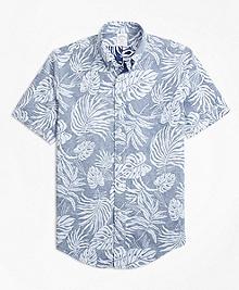 Regent Fit Reverse Palm Tree Print Short-Sleeve Sport Shirt