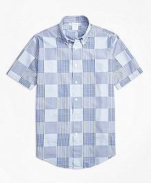 Regent Fit Dobby Patchwork Short-Sleeve Sport Shirt
