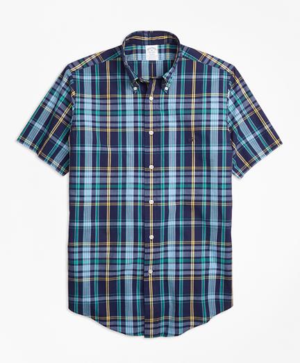 Regent Fit Slub Cotton Dark-Blue Plaid Short-Sleeve Sport Shirt