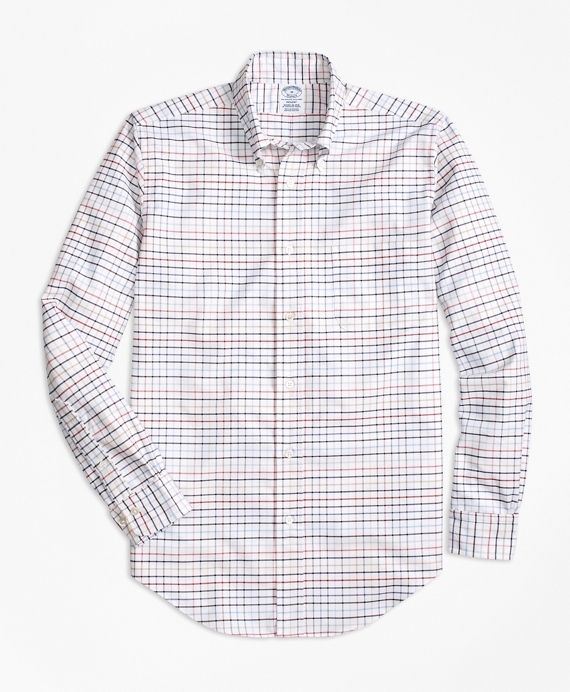 Regent Fit Oxford Multi-Check Sport Shirt Brick