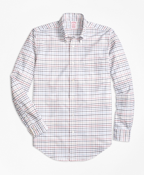 Madison Fit Oxford Multi-Check Sport Shirt Brick