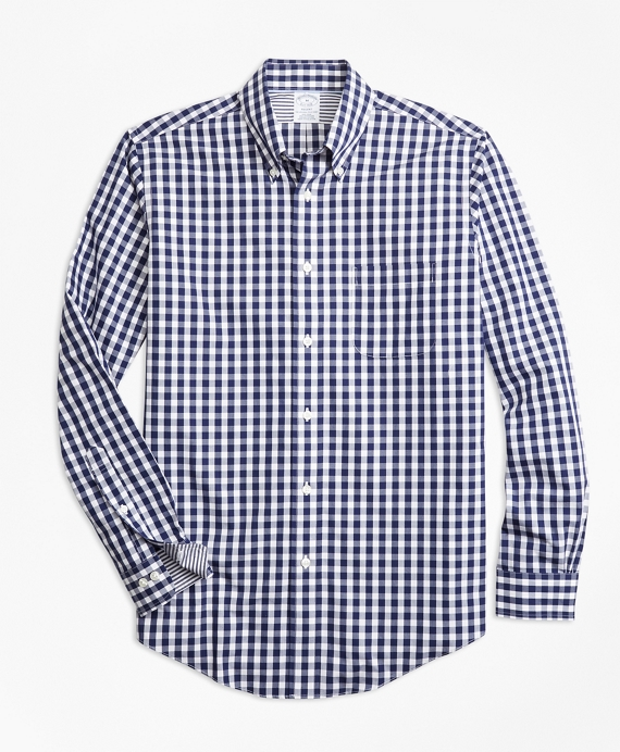 Non-Iron Regent Fit Gingham Sport Shirt Blue