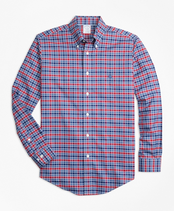 Non-Iron Regent Fit Multi-Check Sport Shirt Blue-Red
