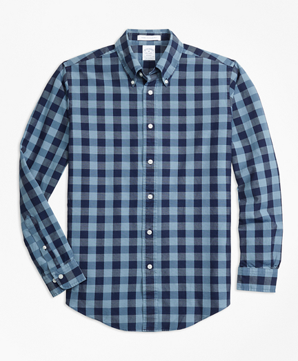 Regent Fit Indigo Gingham Sport Shirt