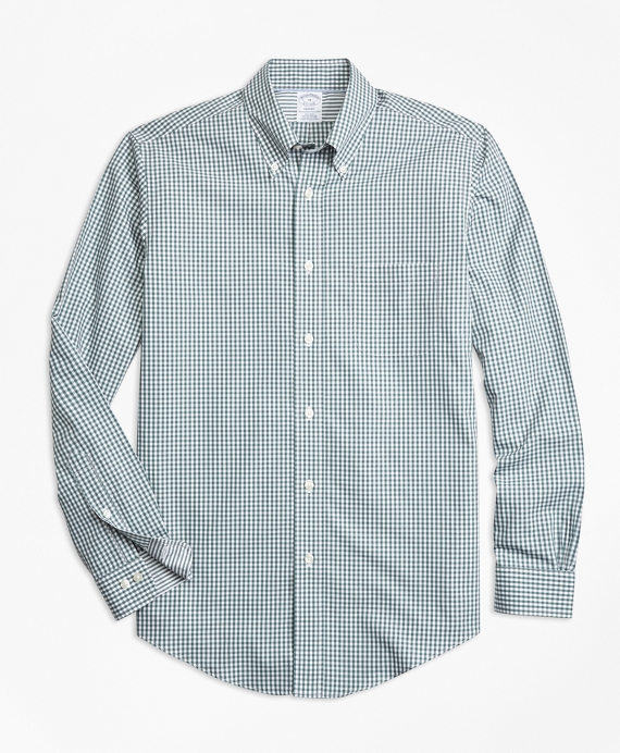 Non-Iron Regent Fit Mini-Gingham Sport Shirt Green