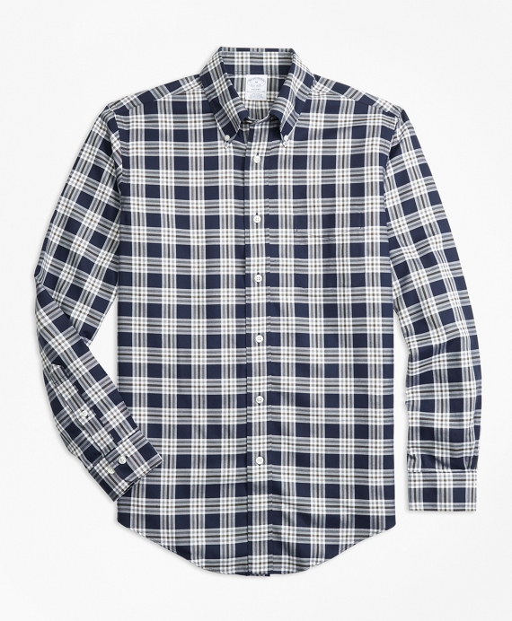 Non-Iron Regent Fit Navy Plaid Sport Shirt