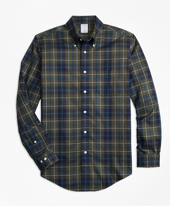 Non-Iron Regent Fit Olive Plaid Sport Shirt