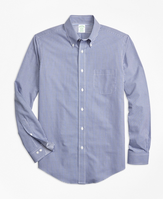 Non-Iron Milano Fit Micro-Gingham Sport Shirt Blue