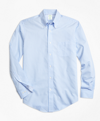 Non-Iron Milano Fit Mini-Gingham Sport Shirt
