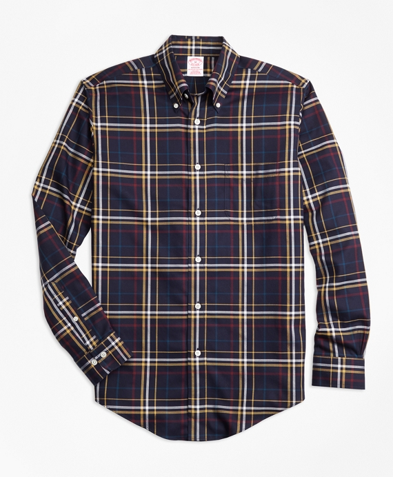 Non-Iron Madison Fit Navy and Gold Plaid Sport Shirt Navy-Gold
