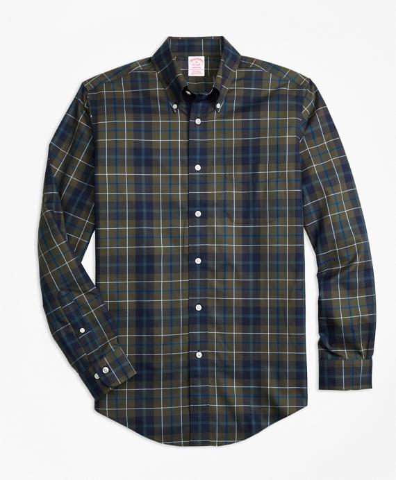 Non-Iron Madison Fit Olive Plaid Sport Shirt