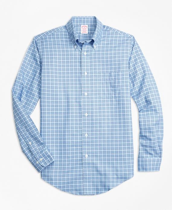 Non-Iron Madison Fit Tattersall Sport Shirt Blue