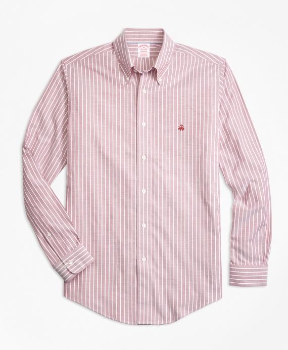 Non-Iron Madison Fit Ground Stripe Sport Shirt Red