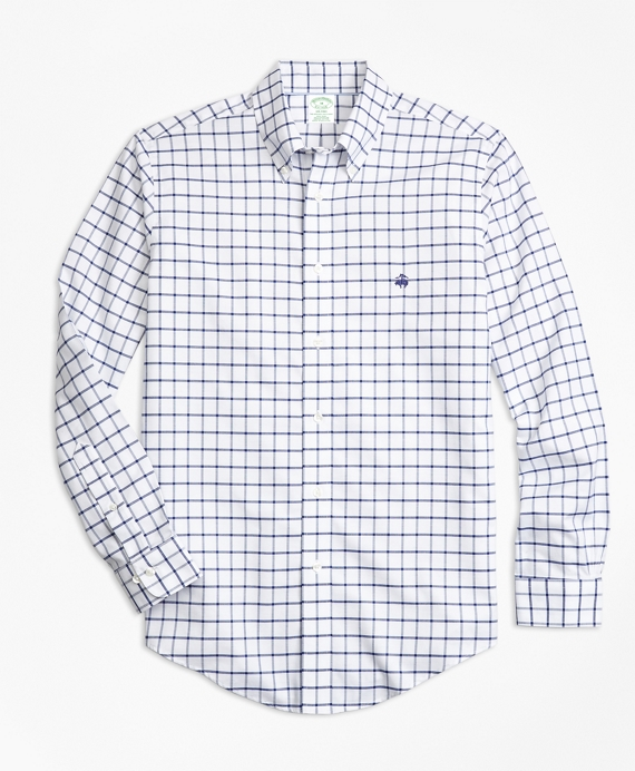 Non-Iron Milano Fit Windowpane Sport Shirt Blue