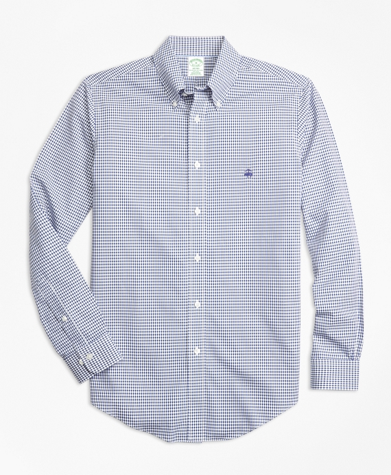 Non-Iron Milano Fit Dobby Check Sport Shirt Blue