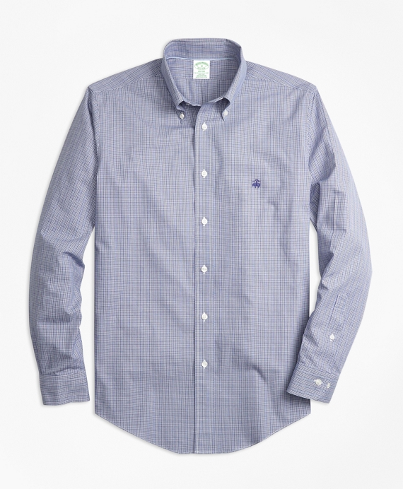Non-Iron Milano Fit Mini Plaid Sport Shirt