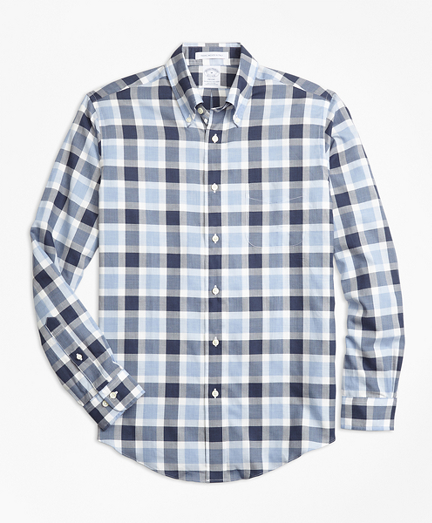 Regent Fit Herringbone Plaid Sport Shirt