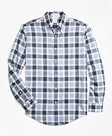 Regent Fit Herringbone Plaid Sport Shirt
