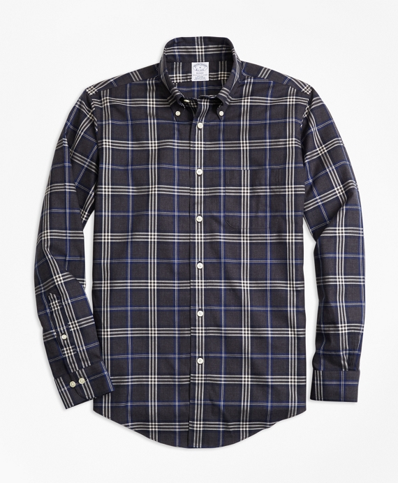 Non-Iron Regent Fit Brooks Brothers Signature Tartan Sport Shirt Charcoal