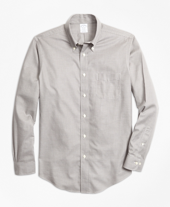 Non-Iron Regent Fit Houndstooth Sport Shirt Oatmeal