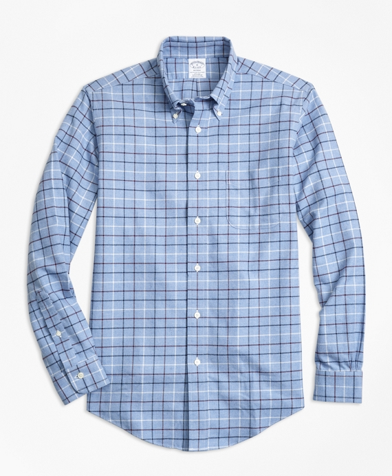 Non-Iron Regent Fit Tattersall Flannel Sport Shirt Blue