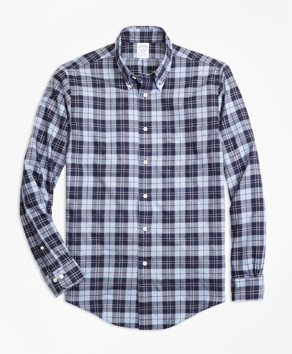 Regent Fit Plaid Flannel Sport Shirt Blue