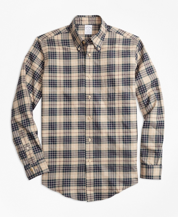 Regent Fit Multi-Plaid Flannel Sport Shirt Camel