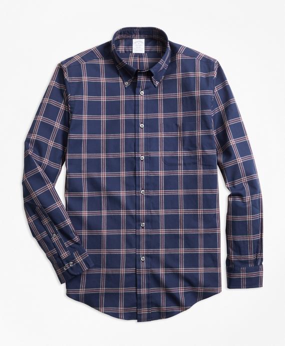 Regent Fit BB#1 Windowpane Flannel Sport Shirt Navy