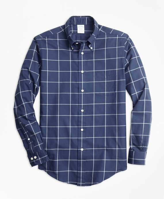 Regent Fit Windowpane Flannel Sport Shirt Navy