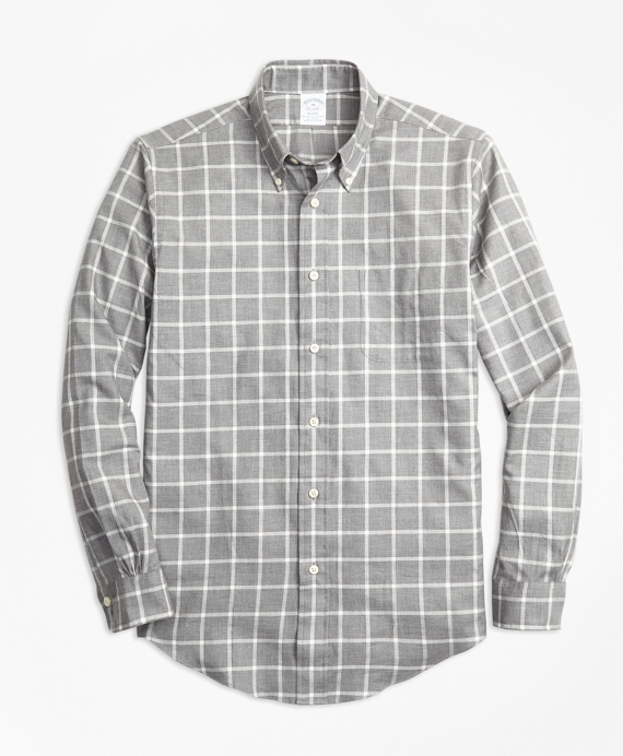Regent Fit Small Windowpane Flannel Sport Shirt Grey