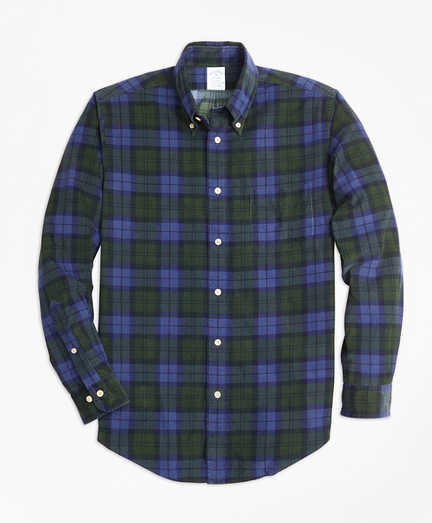 Regent Fit Black Watch Tartan Pinwale Corduroy Sport Shirt