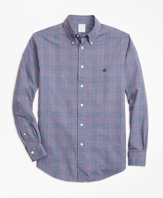 Regent Fit Brushed Oxford Glen Plaid Sport Shirt Blue