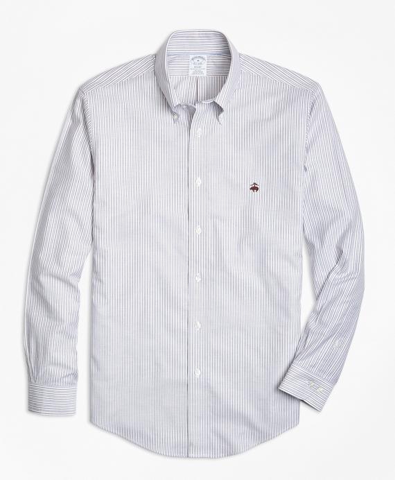 Non-Iron Regent Fit Thin Stripe Sport Shirt Navy