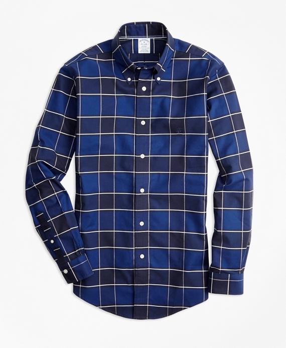 Non-Iron Regent Fit Graph Check Sport Shirt Blue