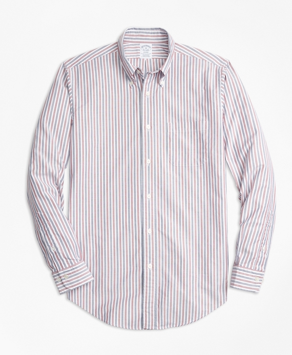 Regent Fit Oxford Stripe Sport Shirt Burgundy