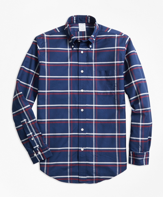 Regent Fit Oxford Check Sport Shirt Navy