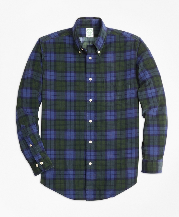 Milano Fit Black Watch Tartan Pinwale Corduroy Sport Shirt Navy-Green