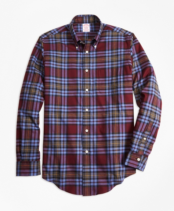 Madison Fit Burgundy Plaid Flannel Sport Shirt - Brooks Brothers
