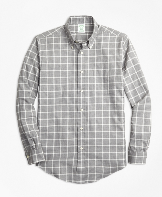 Milano Fit Small Windowpane Flannel Sport Shirt Grey