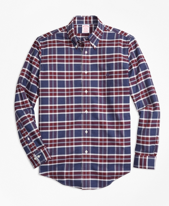 Non-Iron Madison Fit Blue Plaid Sport Shirt Blue-Burgundy